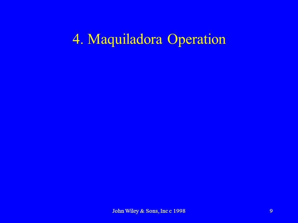 John Wiley & Sons, Inc c 19989 4. Maquiladora Operation