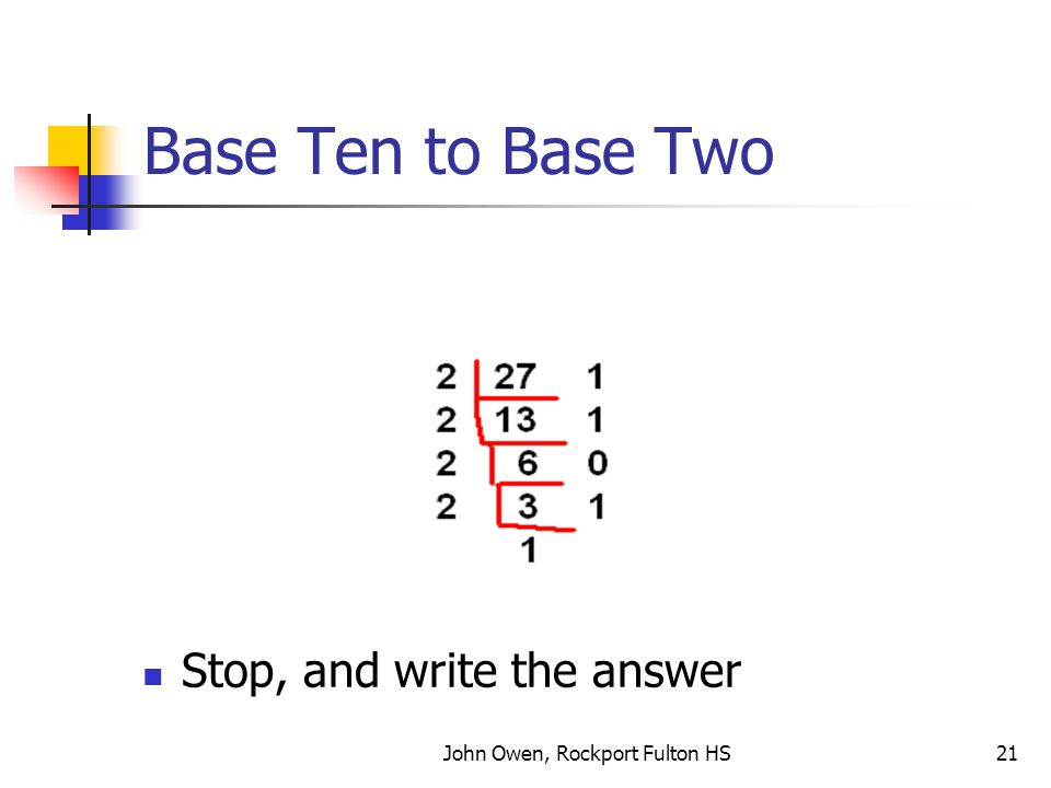 John Owen, Rockport Fulton HS21 Base Ten to Base Two Stop, and write the answer