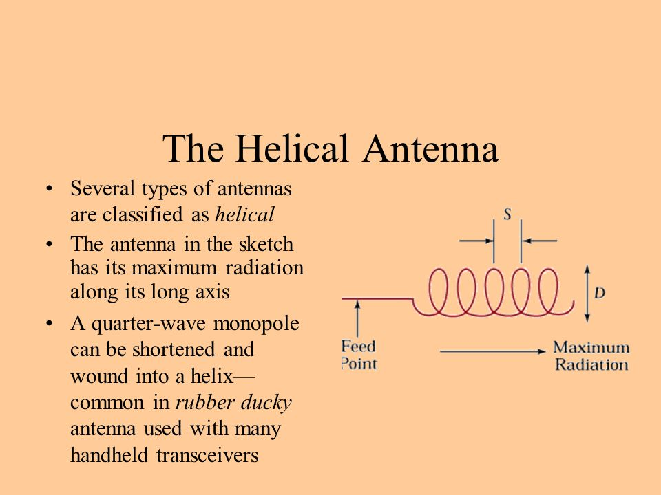 The Helical Antenna Several types of antennas are classified as helical The antenna in the sketch has its maximum radiation along its long axis A quarter-wave monopole can be shortened and wound into a helix— common in rubber ducky antenna used with many handheld transceivers