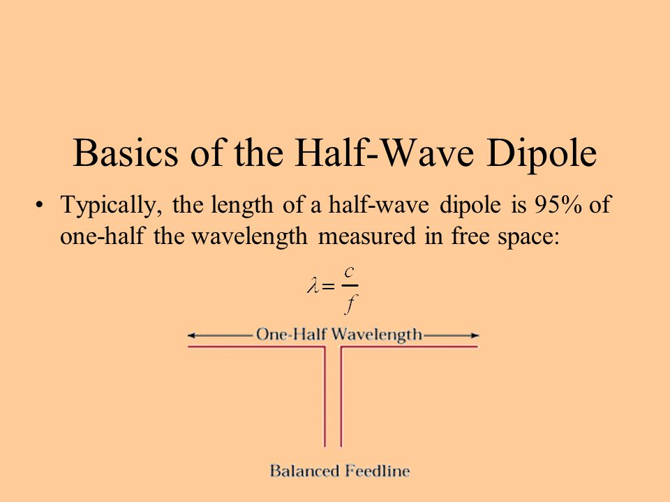 Basics of the Half-Wave Dipole Typically, the length of a half-wave dipole is 95% of one-half the wavelength measured in free space: