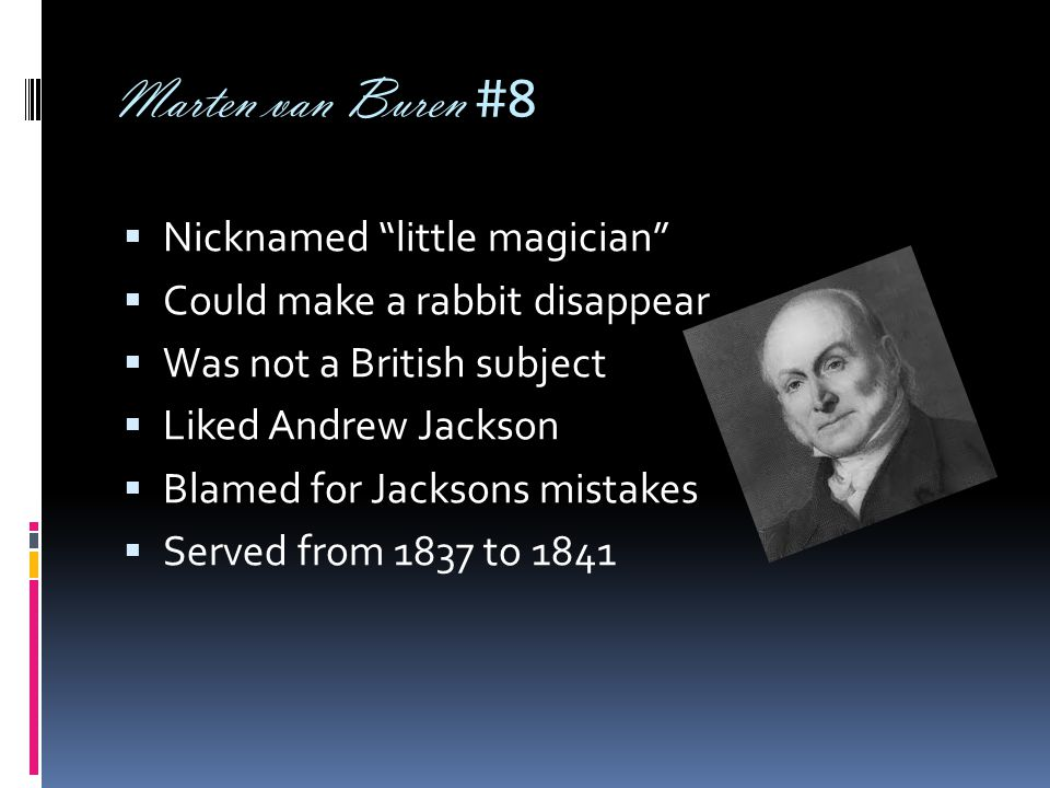"Marten van Buren #8  Nicknamed ""little magician""  Could make a rabbit disappear  Was not a British subject  Liked Andrew Jackson  Blamed for Jack"