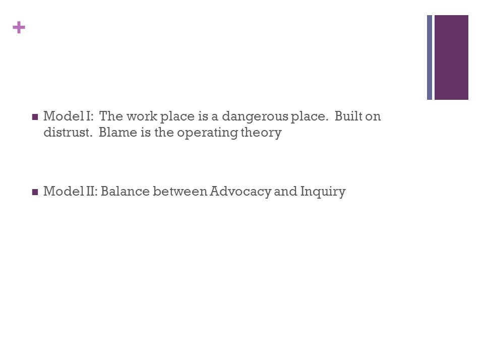 + Model I: The work place is a dangerous place. Built on distrust.