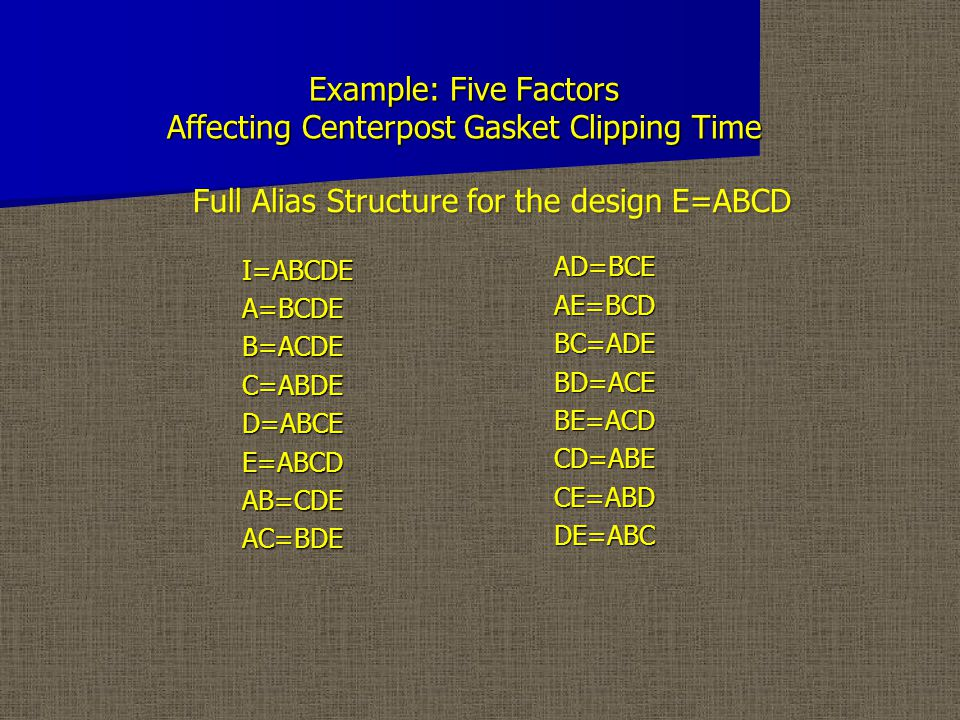 Example: Five Factors Affecting Centerpost Gasket Clipping Time I=ABCDEA=BCDEB=ACDEC=ABDED=ABCEE=ABCDAB=CDEAC=BDEAD=BCEAE=BCDBC=ADEBD=ACEBE=ACDCD=ABECE=ABDDE=ABC Full Alias Structure for the design E=ABCD