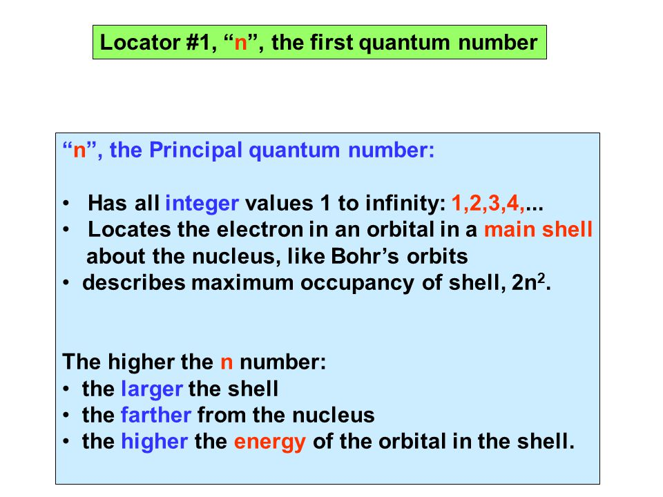 """""""n"""", the Principal quantum number: Has all integer values 1 to infinity: 1,2,3,4,... Locates the electron in an orbital in a main shell about the nucl"""