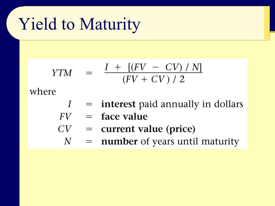 Yield to Maturity