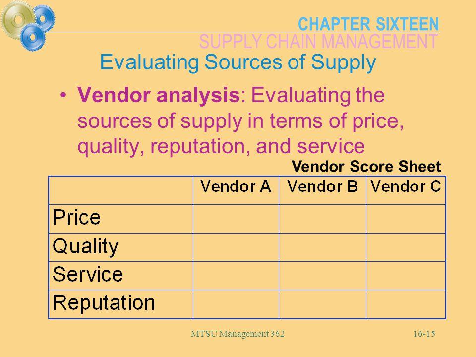 CHAPTER SIXTEEN SUPPLY CHAIN MANAGEMENT MTSU Management 36216-15 Vendor Score Sheet Evaluating Sources of Supply Vendor analysis: Evaluating the sourc