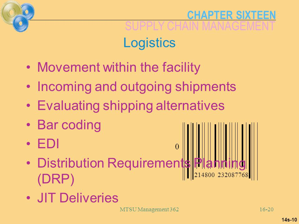 CHAPTER SIXTEEN SUPPLY CHAIN MANAGEMENT MTSU Management 36216-20 0 214800 232087768 14s-10 Logistics Movement within the facility Incoming and outgoin
