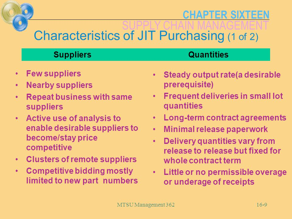 CHAPTER SIXTEEN SUPPLY CHAIN MANAGEMENT MTSU Management 36216-20 0 214800 232087768 14s-10 Logistics Movement within the facility Incoming and outgoing shipments Evaluating shipping alternatives Bar coding EDI Distribution Requirements Planning (DRP) JIT Deliveries