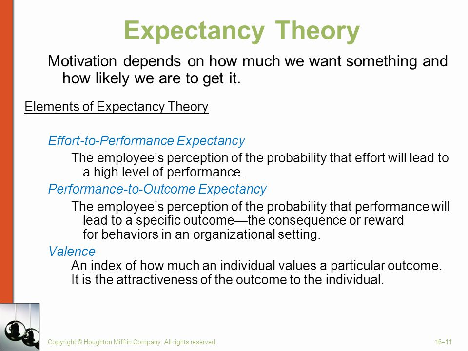 Copyright © Houghton Mifflin Company. All rights reserved.16–11 Expectancy Theory Motivation depends on how much we want something and how likely we a