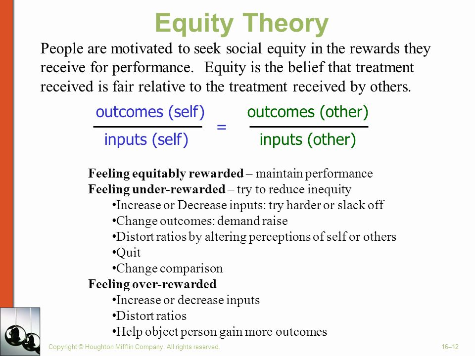 Copyright © Houghton Mifflin Company. All rights reserved.16–12 Equity Theory outcomes (self) inputs (self) = outcomes (other) inputs (other) Feeling