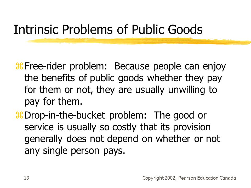 Copyright 2002, Pearson Education Canada13 Intrinsic Problems of Public Goods zFree-rider problem: Because people can enjoy the benefits of public goods whether they pay for them or not, they are usually unwilling to pay for them.