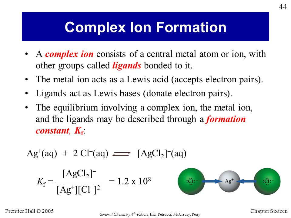 Hall © 2005 Prentice Hall © 2005 General Chemistry 4 th edition, Hill, Petrucci, McCreary, Perry Chapter Sixteen 44 A complex ion consists of a centra