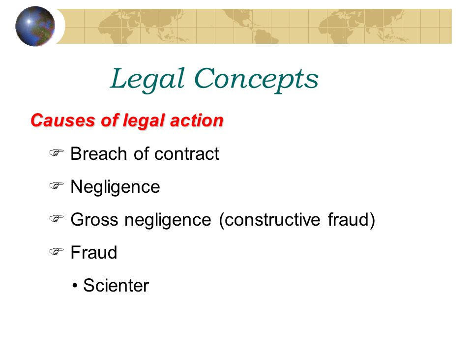 Legal Concepts Causes of legal action  Breach of contract  Negligence  Gross negligence (constructive fraud)  Fraud Scienter