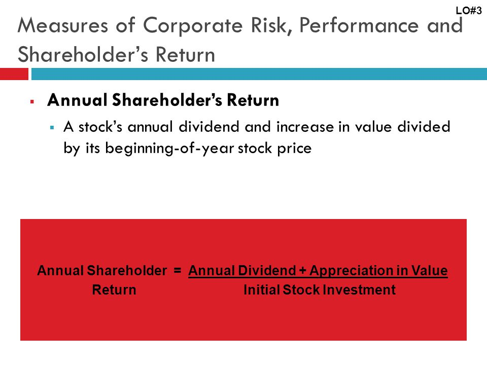 Measures of Corporate Risk, Performance and Shareholder's Return  Annual Shareholder's Return  A stock's annual dividend and increase in value divided by its beginning-of-year stock price LO#3 Annual Shareholder = Annual Dividend + Appreciation in Value Return Initial Stock Investment