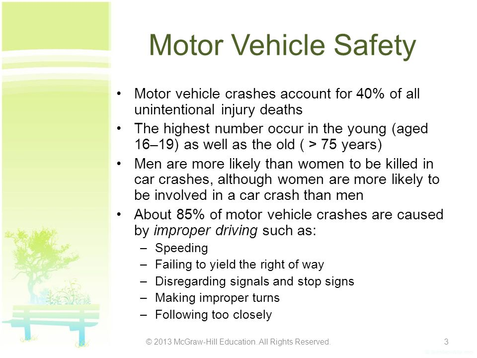 Motor Vehicle Safety Motor vehicle crashes account for 40% of all unintentional injury deaths The highest number occur in the young (aged 16–19) as well as the old ( > 75 years) Men are more likely than women to be killed in car crashes, although women are more likely to be involved in a car crash than men About 85% of motor vehicle crashes are caused by improper driving such as: –Speeding –Failing to yield the right of way –Disregarding signals and stop signs –Making improper turns –Following too closely © 2013 McGraw-Hill Education.