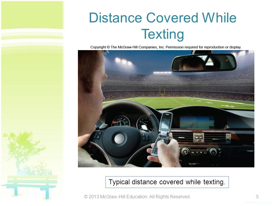 Distance Covered While Texting © 2013 McGraw-Hill Education.