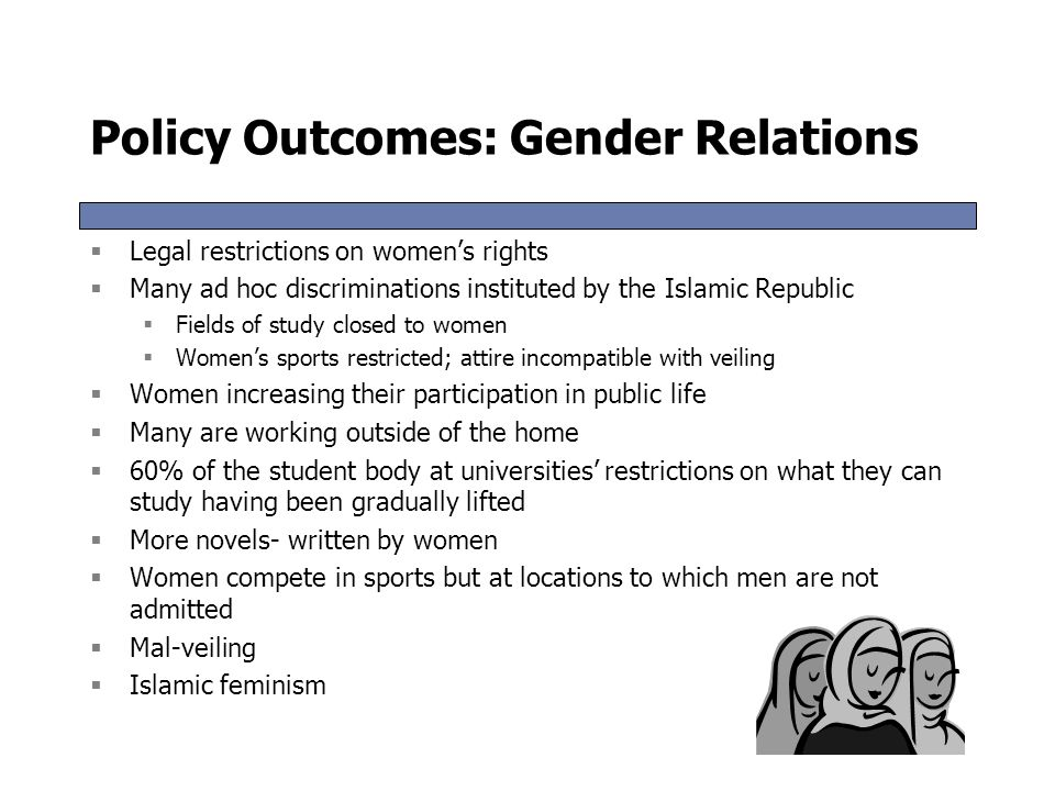 Policy Outcomes: Islamicization of Society  Alcohol consumption banned except for the non-Muslim minorities  Veiling enforced in public spaces  Sta