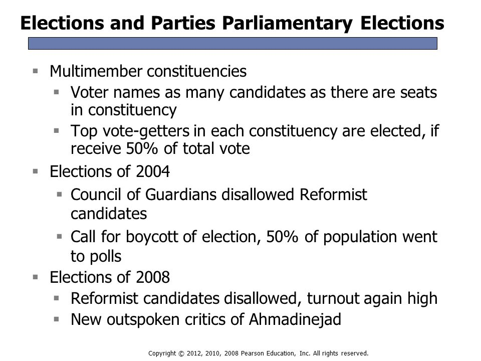 Elections and Parties Parliamentary Elections  Multimember constituencies  Voter names as many candidates as there are seats in constituency  Top vote-getters in each constituency are elected, if receive 50% of total vote  Elections of 2004  Council of Guardians disallowed Reformist candidates  Call for boycott of election, 50% of population went to polls  Elections of 2008  Reformist candidates disallowed, turnout again high  New outspoken critics of Ahmadinejad  Multimember constituencies  Voter names as many candidates as there are seats in constituency  Top vote-getters in each constituency are elected, if receive 50% of total vote  Elections of 2004  Council of Guardians disallowed Reformist candidates  Call for boycott of election, 50% of population went to polls  Elections of 2008  Reformist candidates disallowed, turnout again high  New outspoken critics of Ahmadinejad Copyright © 2012, 2010, 2008 Pearson Education, Inc.