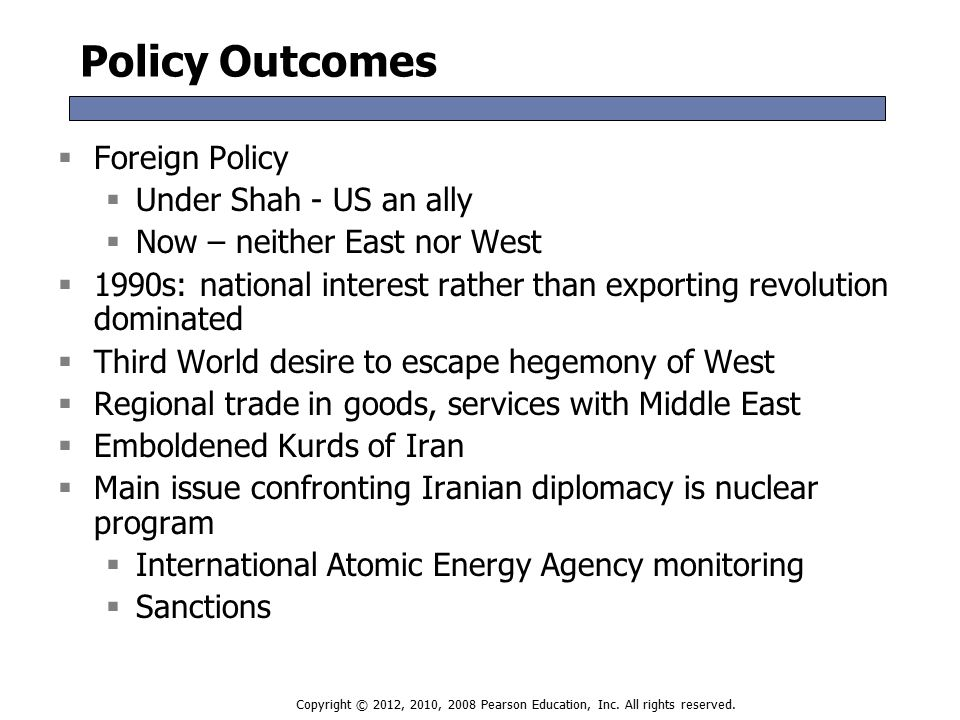 Policy Outcomes  Foreign Policy  Under Shah - US an ally  Now – neither East nor West  1990s: national interest rather than exporting revolution dominated  Third World desire to escape hegemony of West  Regional trade in goods, services with Middle East  Emboldened Kurds of Iran  Main issue confronting Iranian diplomacy is nuclear program  International Atomic Energy Agency monitoring  Sanctions  Foreign Policy  Under Shah - US an ally  Now – neither East nor West  1990s: national interest rather than exporting revolution dominated  Third World desire to escape hegemony of West  Regional trade in goods, services with Middle East  Emboldened Kurds of Iran  Main issue confronting Iranian diplomacy is nuclear program  International Atomic Energy Agency monitoring  Sanctions Copyright © 2012, 2010, 2008 Pearson Education, Inc.