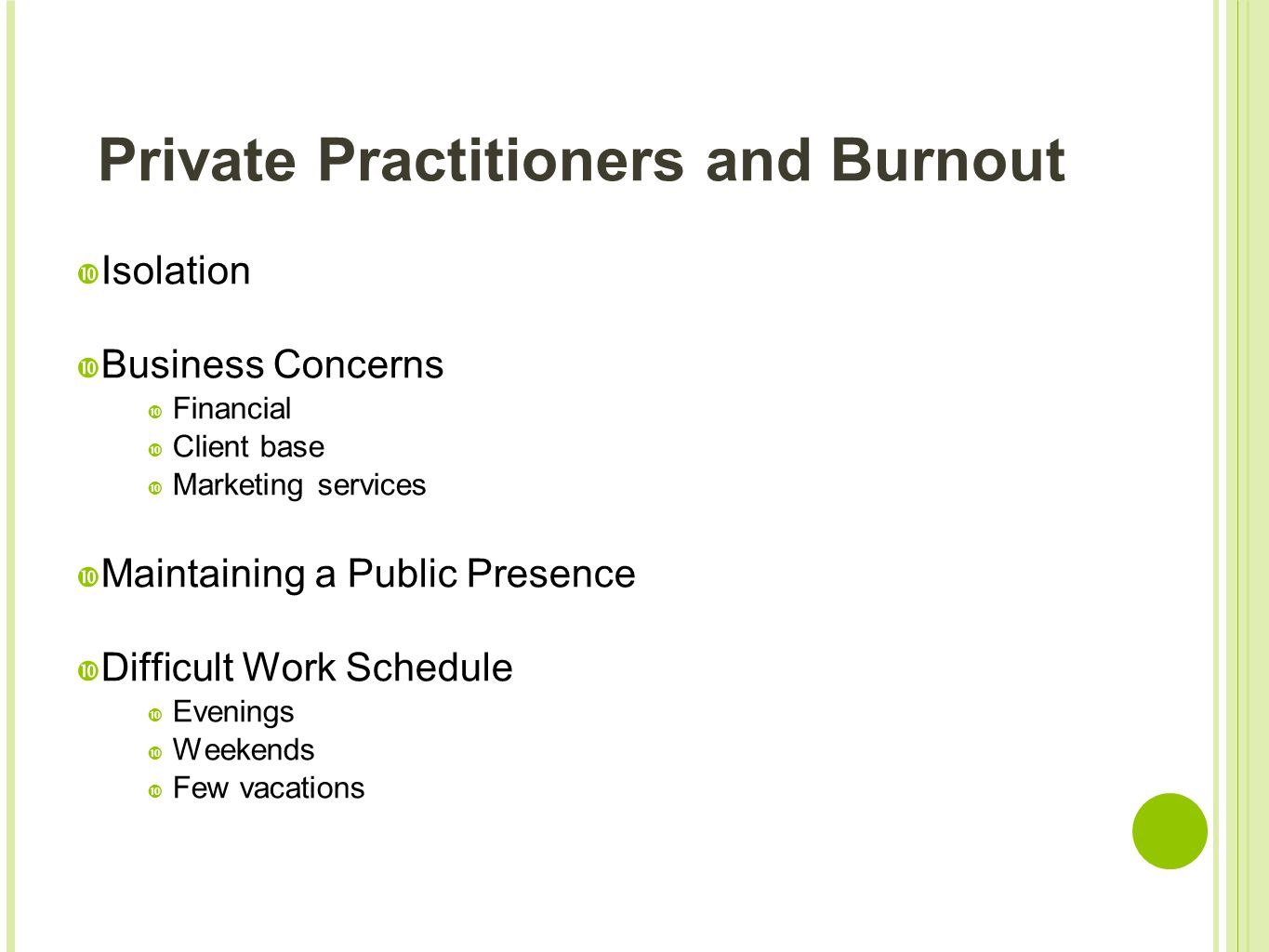 Private Practitioners and Burnout  Isolation  Business Concerns  Financial  Client base  Marketing services  Maintaining a Public Presence  Dif