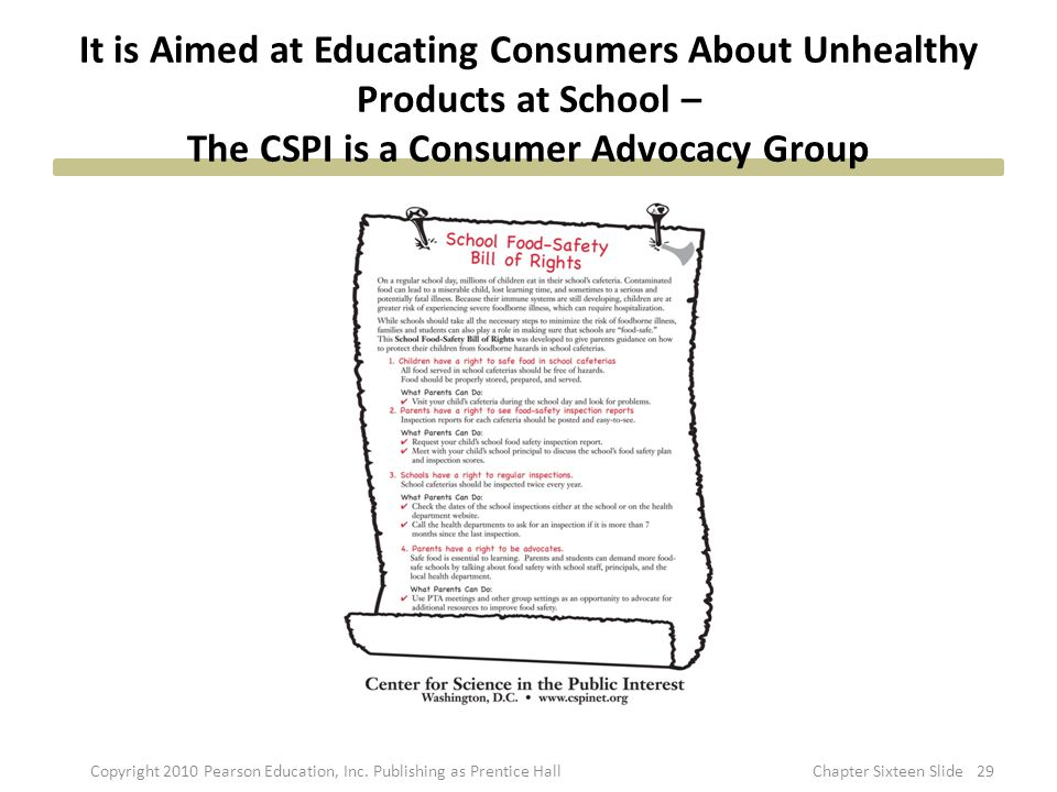 It is Aimed at Educating Consumers About Unhealthy Products at School – The CSPI is a Consumer Advocacy Group 29Copyright 2010 Pearson Education, Inc.