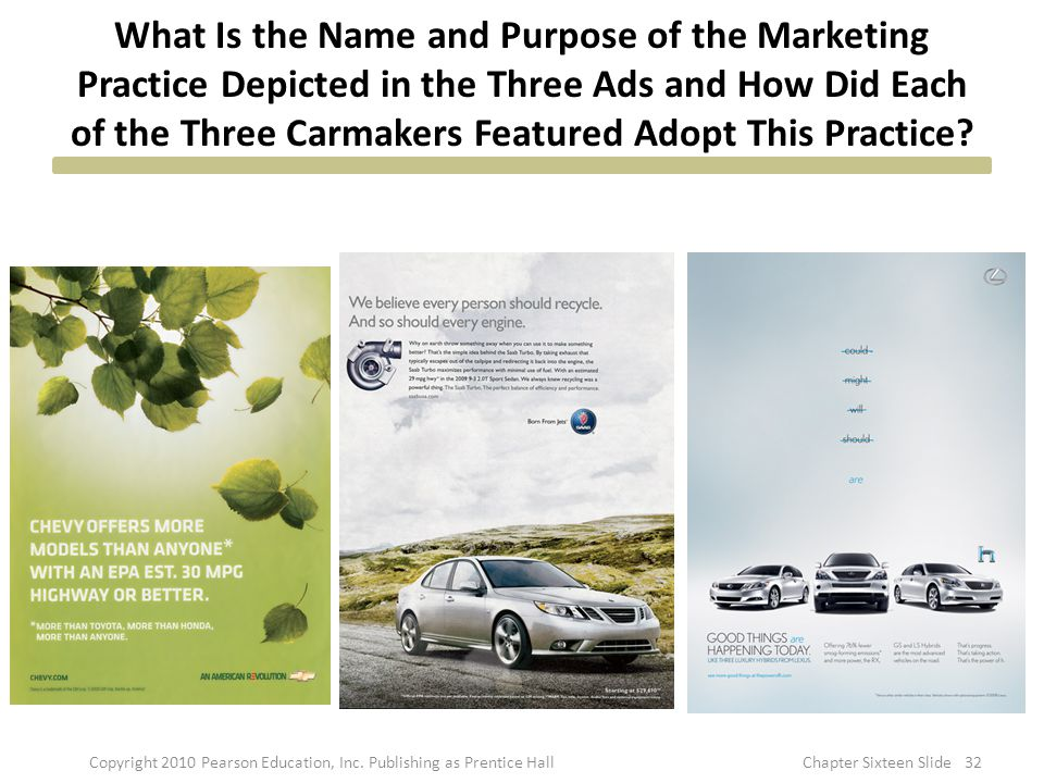 What Is the Name and Purpose of the Marketing Practice Depicted in the Three Ads and How Did Each of the Three Carmakers Featured Adopt This Practice?