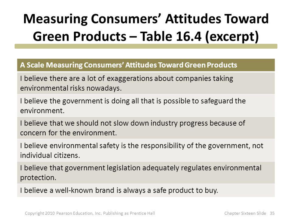 Measuring Consumers' Attitudes Toward Green Products – Table 16.4 (excerpt) A Scale Measuring Consumers' Attitudes Toward Green Products I believe the