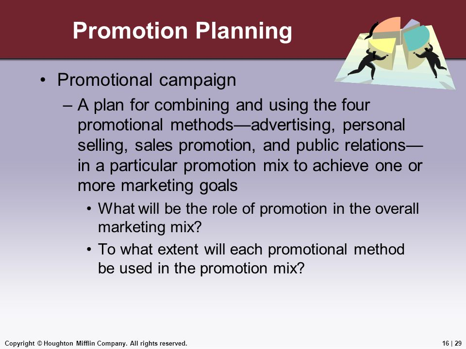 Copyright © Houghton Mifflin Company. All rights reserved.16   29 Promotion Planning Promotional campaign –A plan for combining and using the four pro