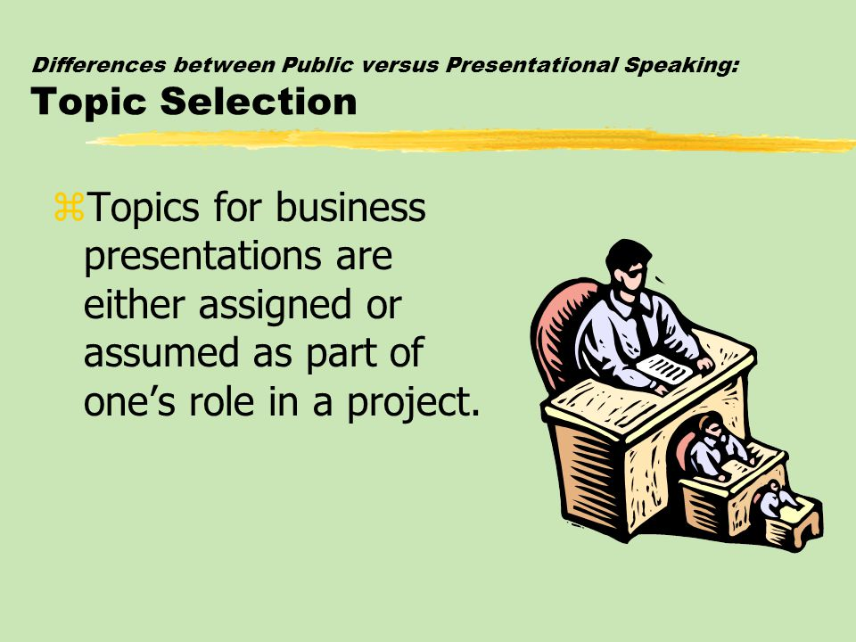 Differences between Public versus Presentational Speaking: Topic Selection zTopics for business presentations are either assigned or assumed as part o