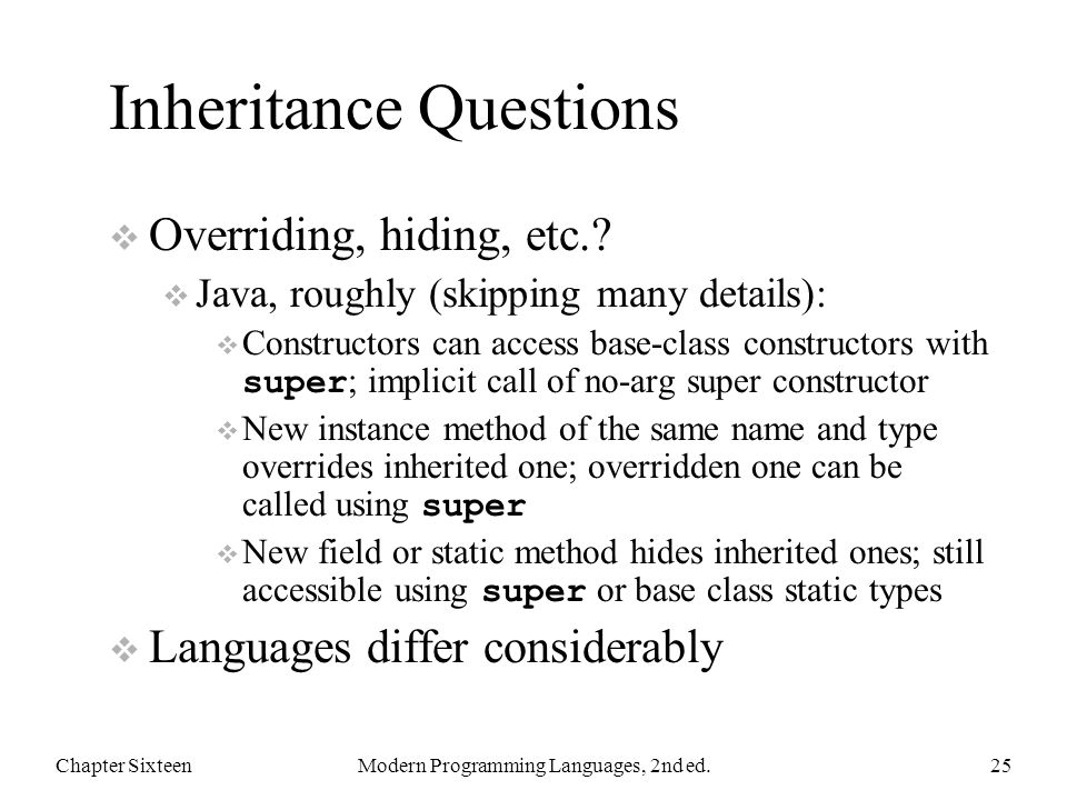 Inheritance Questions  Overriding, hiding, etc..