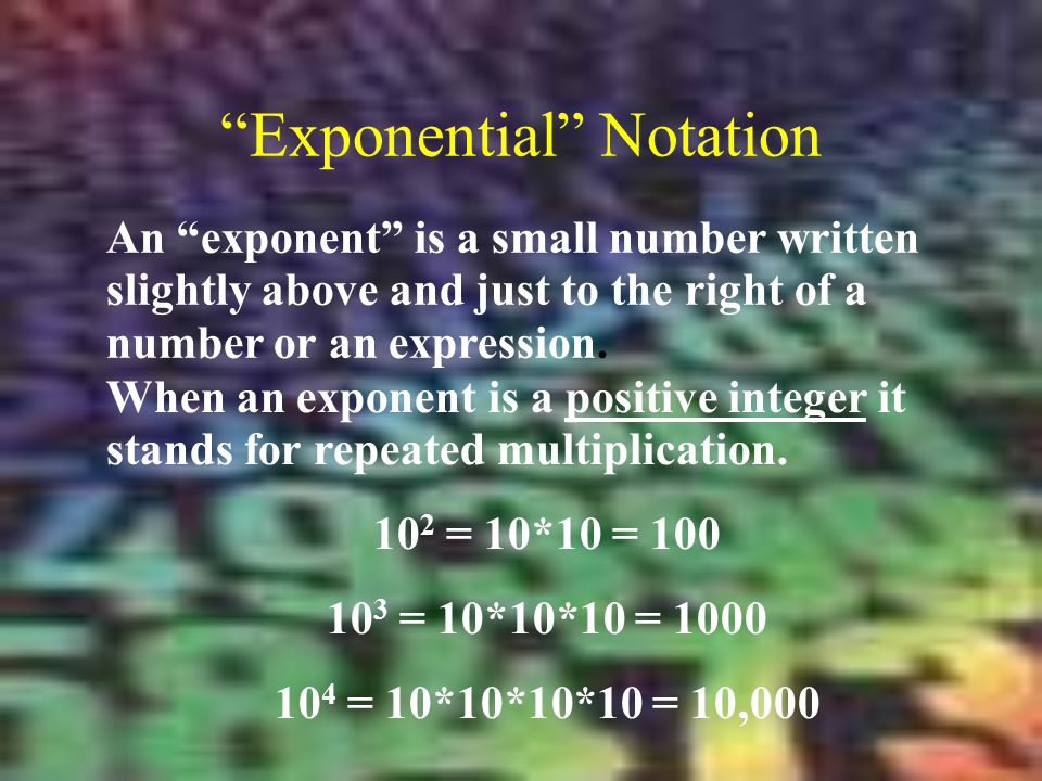 Exponential Notation An exponent is a small number written slightly above and just to the right of a number or an expression.