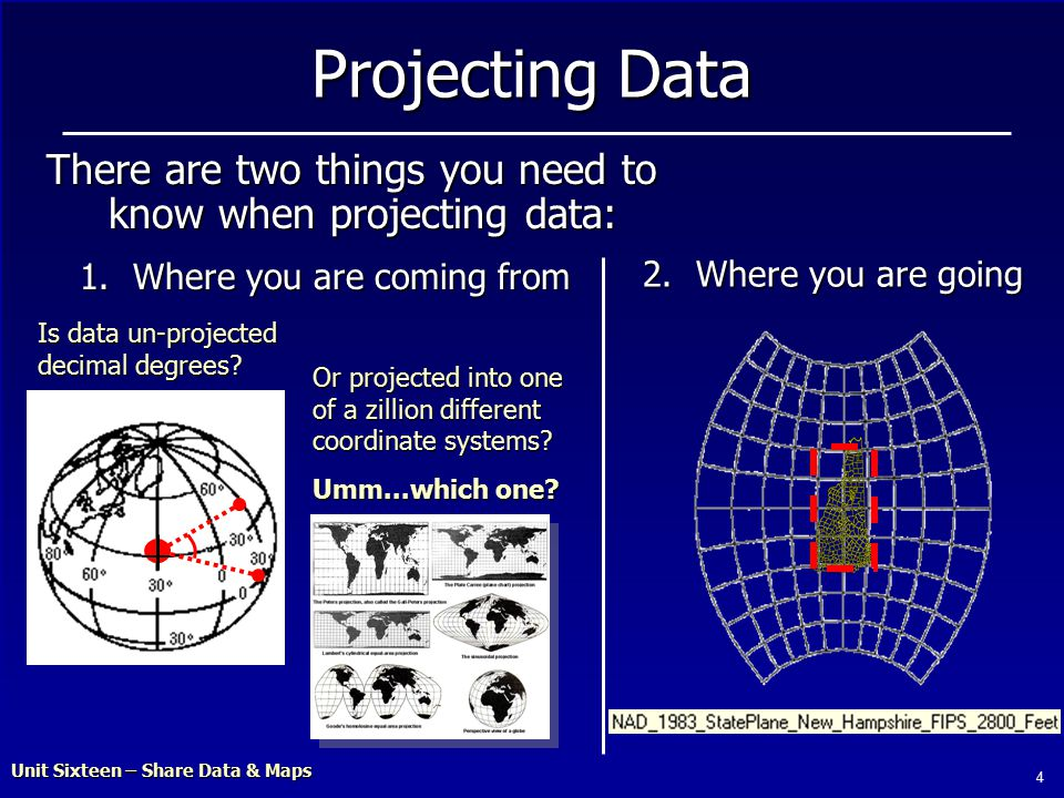 Unit Sixteen – Share Data & Maps 4 Projecting Data There are two things you need to know when projecting data: 1.Where you are coming from 2.Where you are going Is data un-projected decimal degrees.