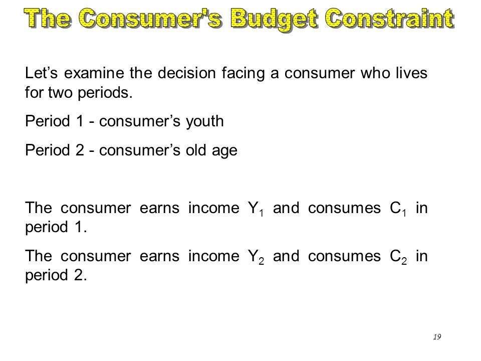 Chapter Sixteen19 Let's examine the decision facing a consumer who lives for two periods. Period 1 - consumer's youth Period 2 - consumer's old age Th