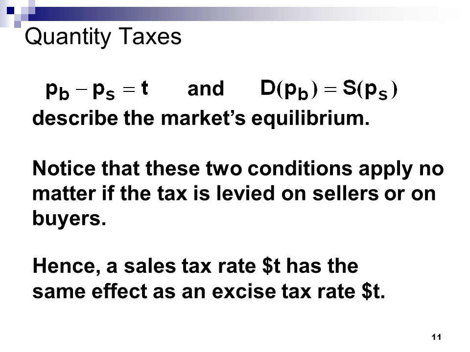 11 Quantity Taxes and describe the market's equilibrium.