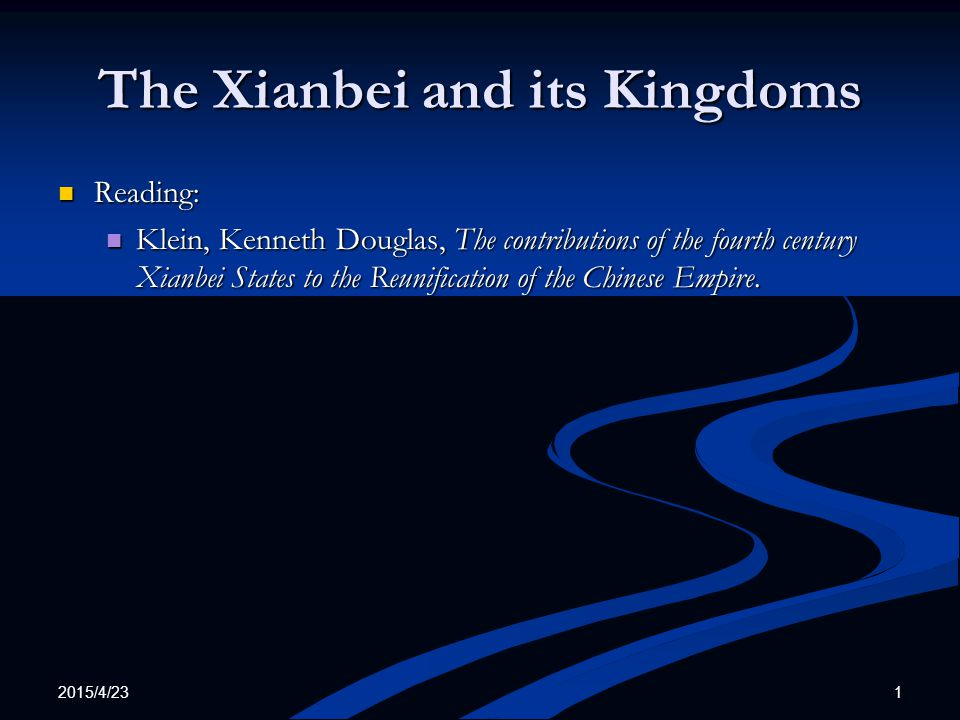 2015/4/23 2 The Xianbei and its Kingdoms The Xianbei The Xianbei The Murong The Murong The Former Yan The Former Yan The Later Yan The Later Yan The Southern Yan The Southern Yan The Western Qin The Western Qin The Southern Liang The Southern Liang Sixteen Kingdoms: A Comparison Sixteen Kingdoms: A Comparison Reference: Reference: Western Yan Western Yan Xianbei Women Xianbei Women