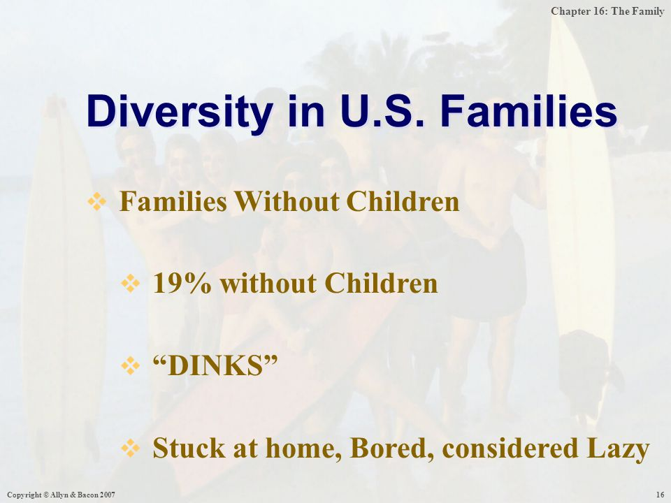 "Chapter 16: The Family Copyright © Allyn & Bacon 200716 Diversity in U.S. Families  Families Without Children  19% without Children  ""DINKS""  Stuc"