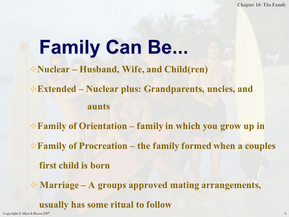 Chapter 16: The Family Copyright © Allyn & Bacon 200715