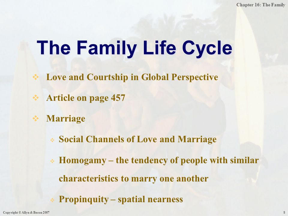 Chapter 16: The Family Copyright © Allyn & Bacon 20078  Love and Courtship in Global Perspective  Article on page 457  Marriage  Social Channels of Love and Marriage  Homogamy – the tendency of people with similar characteristics to marry one another  Propinquity – spatial nearness The Family Life Cycle