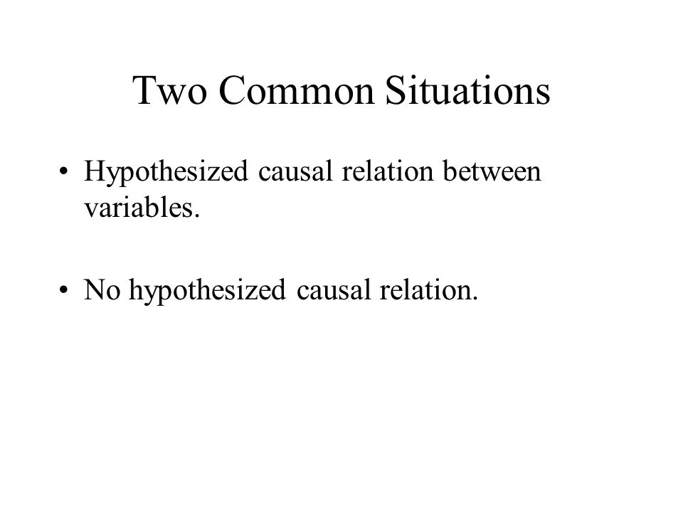 Hypothesized Causal Relation Classification of variables –Independent variable is one hypothesized to be cause.