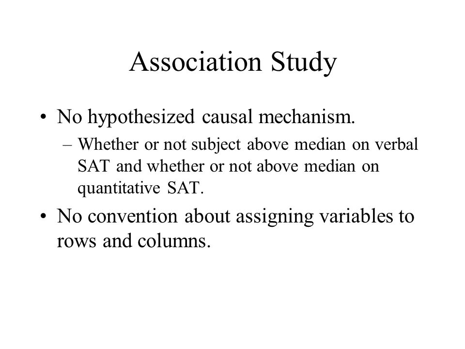 Association Study No hypothesized causal mechanism.