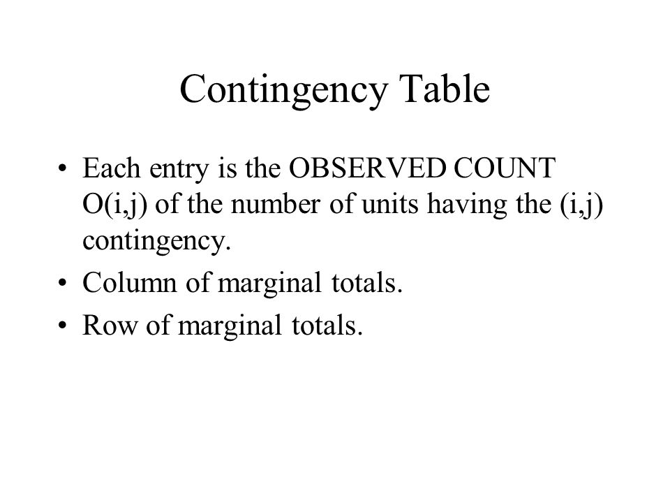 Pearson Chi-squared Component Chi-squared component for (i, j) contingency =C(i,j)= (Residual in (i, j) contingency) 2 /expected count in (i, j) contingency.