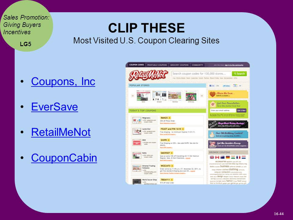 Coupons, Inc EverSave RetailMeNot CouponCabin CLIP THESE Most Visited U.S.