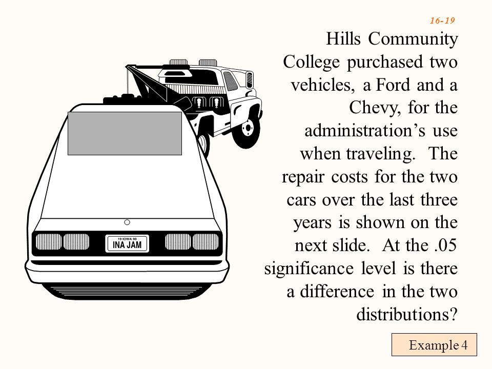 16- 19 Example 4 Hills Community College purchased two vehicles, a Ford and a Chevy, for the administration's use when traveling.