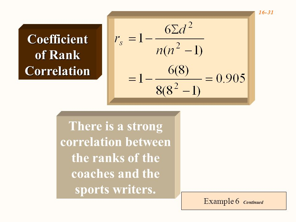 16- 31 Example 6 Continued There is a strong correlation between the ranks of the coaches and the sports writers.