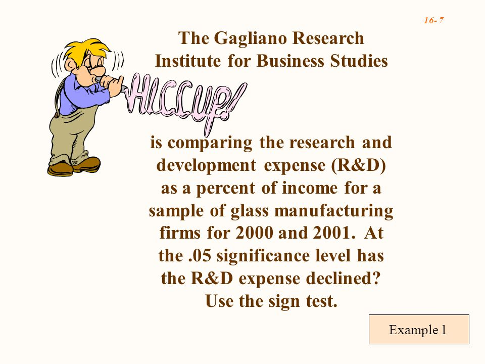 16- 7 Example 1 The Gagliano Research Institute for Business Studies is comparing the research and development expense (R&D) as a percent of income for a sample of glass manufacturing firms for 2000 and 2001.