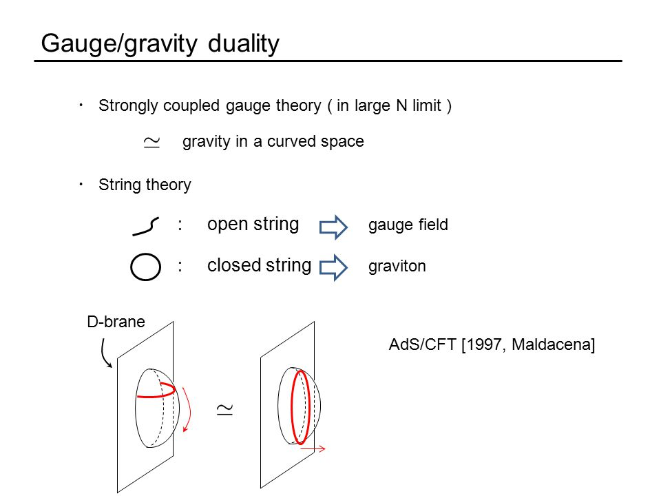 Gauge/gravity duality ・ Strongly coupled gauge theory ( in large N limit ) ・ String theory gravity in a curved space AdS/CFT [1997, Maldacena] D-brane graviton : closed string : open string gauge field