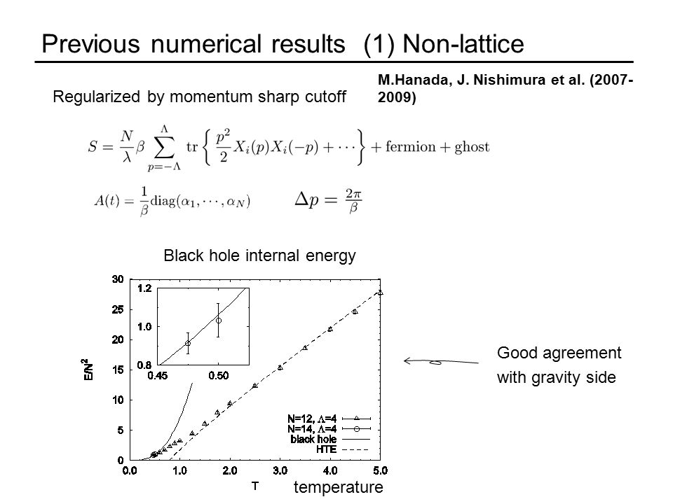 Previous numerical results (1) Non-lattice M.Hanada, J.