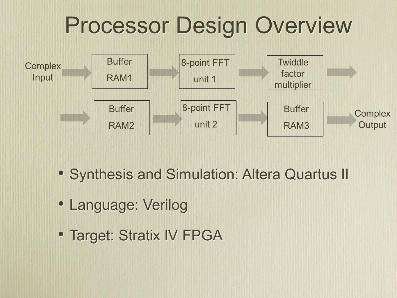 Processor Design Overview Synthesis and Simulation: Altera Quartus II Language: Verilog Target: Stratix IV FPGA Synthesis and Simulation: Altera Quart