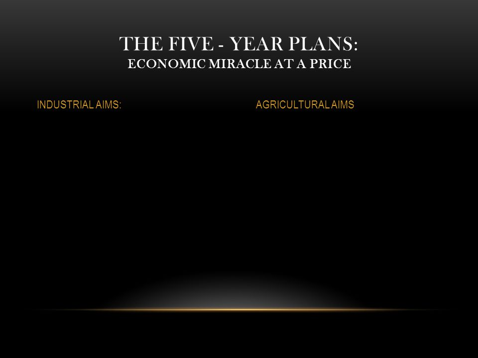 THE FIVE - YEAR PLANS: ECONOMIC MIRACLE AT A PRICE INDUSTRIAL AIMS:AGRICULTURAL AIMS