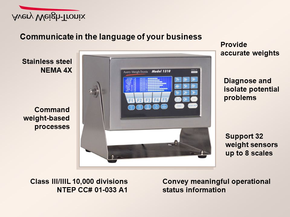 Communicate in the language of your business Command weight-based processes Convey meaningful operational status information Diagnose and isolate pote